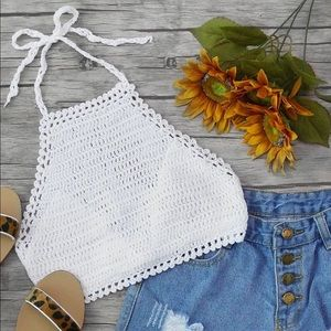 White Crochet Halter Tank Top FREE with other item